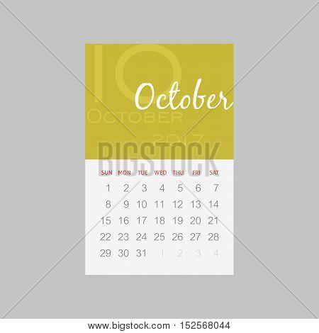 Calendar 2017 months October. Week starts from Sunday eps 10