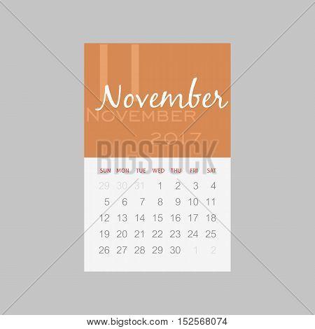 Calendar 2017 months November. Week starts from Sunday eps 10