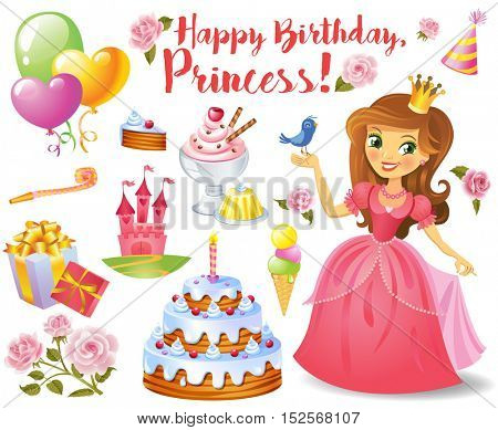 Cute birthday design elements for a party in style of the little princess