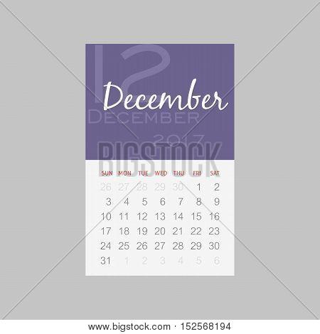 Calendar 2017 months December. Week starts from Sunday eps 10