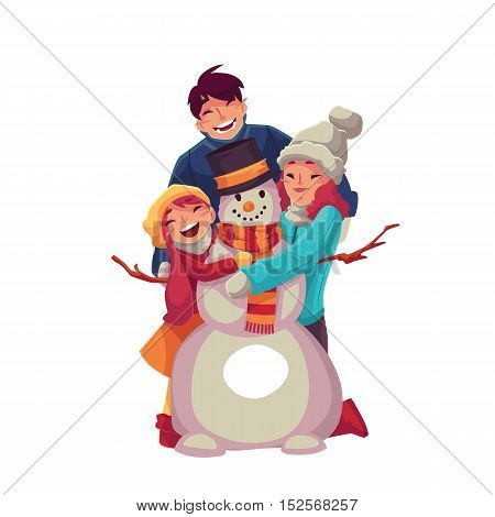 Family portrait of father, mother and daughter making snowman and hugging each other, cartoon vector illustration isolated on white background. Cheerful, happy family in winter clothes with a snowman