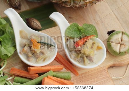 Spicy simmer pineapple with pork and vegetables