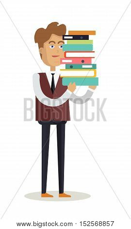 Office worker character vector. Young man in suit standing and holding stuck of documents