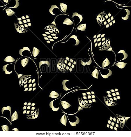 Vector golden ornament fabric - abstract background