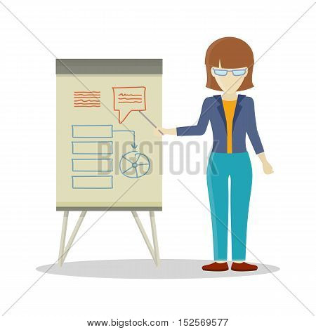 Business woman with brown hair making a presentation in front of whiteboard with infographics.
