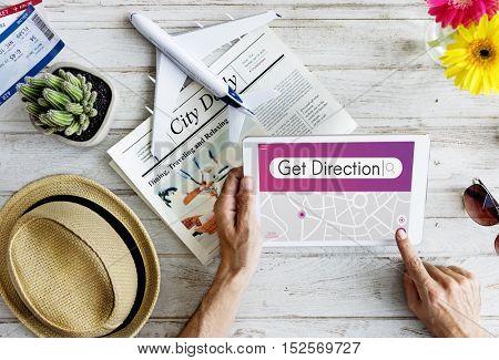 Get Direction Navigation GPS Map Destination Concept