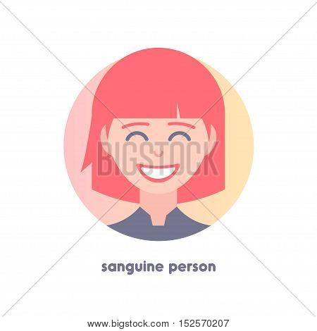 Icon of sanguine person. Type of temperaments.  Flat icon of woman's face. Modern vector illustration of girl. Image is out of circle range. The red-haired character. Avatar for web.