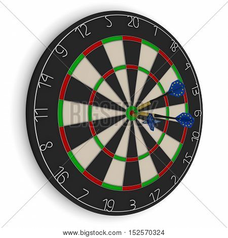 Dart Board With Three Eu Flag Darts In Bullseye Isolated On White 3D Illustration