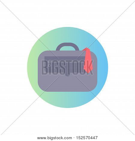 Flat icon of case and tie. Isolated modern vector illustration. Image is in circle range. Linear gradient on background.
