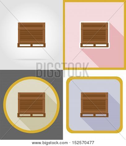 delivery wooden box flat icons vector illustration isolated on background