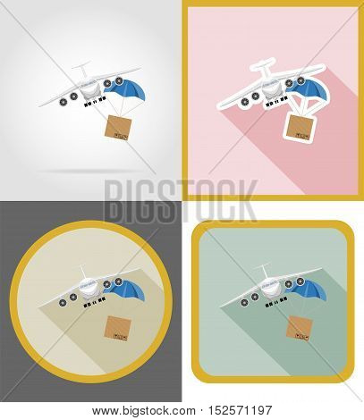 aircraft delivery flat icons vector illustration isolated on background