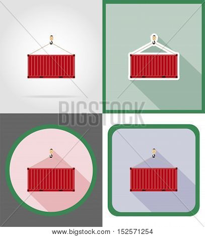 cargo container delivery flat icons vector illustration isolated on background
