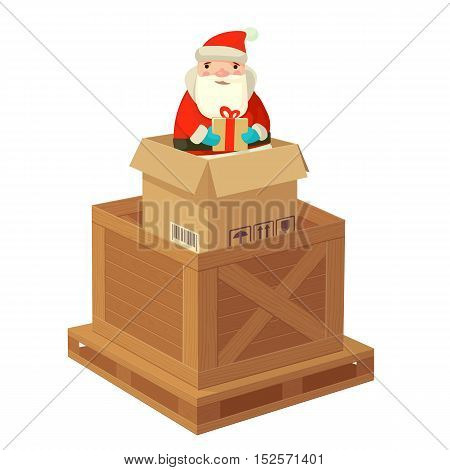 Logistic Santa Claus with a gift. Flat Vector illustration. For poster logo web info graphic banner.