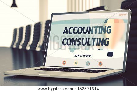 Accounting Consulting on Landing Page of Mobile Computer Screen. Closeup View. Modern Meeting Room Background. Toned. Blurred Image. 3D Rendering.