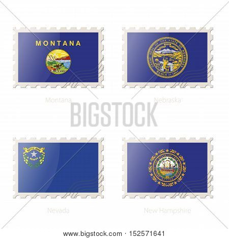 Postage Stamp With The Image Of Montana, Nebraska, Nevada, New Hampshire State Flag.
