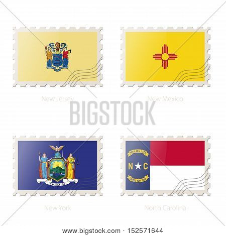 Postage Stamp With The Image Of New Jersey, New Mexico, New York, North Carolina State Flag.