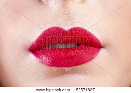 Sexy Lips. Beauty Red Lips Makeup Detail. Beautiful Make-up Closeup. Sensual Open Mouth. lipstick or Lipgloss