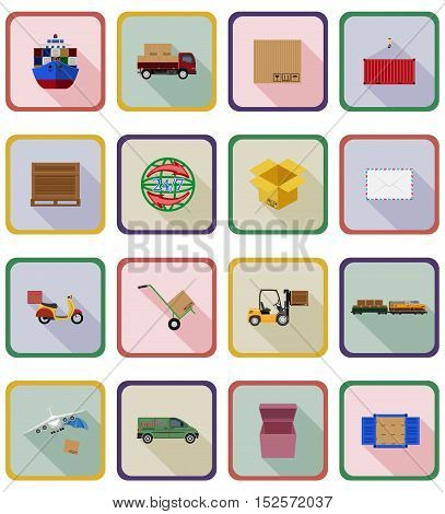 delivery flat icons vector illustration isolated on background