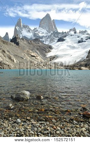 Mount Fitz Roy rising above clear blue glacial lake, Argentina