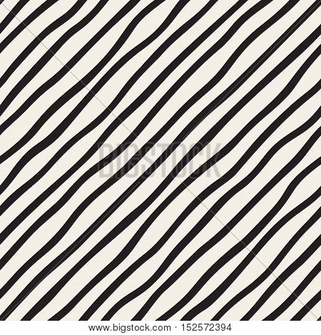 Vector Seamless Black and White Hand Drawn Diagonal Stripes Pattern. Abstract Freehand Background Design