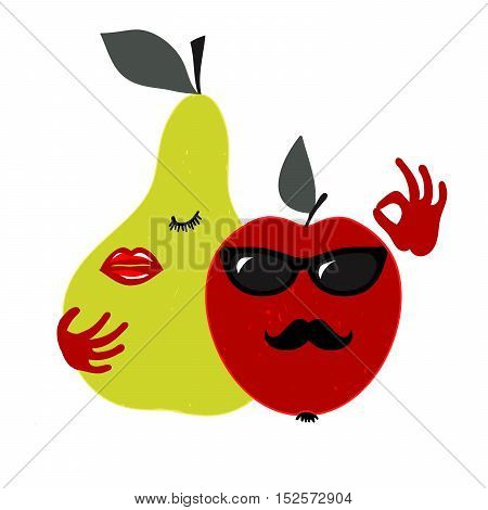Apple and pear amorous couple. Vector illustration promoting the attractiveness of fruit and a healthy lifestyle