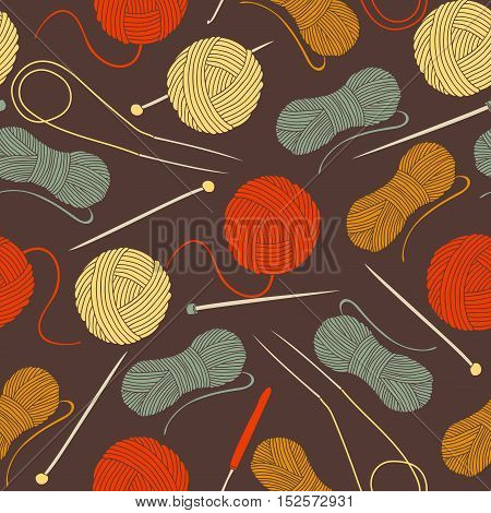 seamless background with balls of yarn and knitting needles. Needlework background