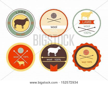 Vector Illustration: Set of labels, badges and design elements for lambs and wool