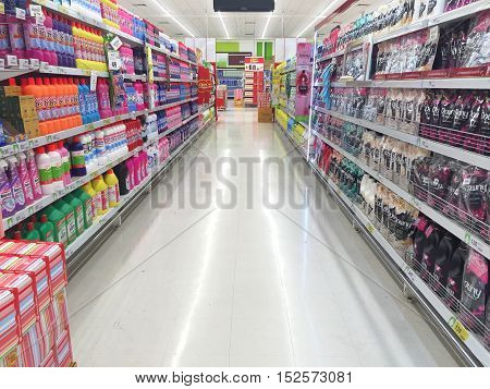 CHIANG RAI THAILAND - OCTOBER 18 : indoor BigC supermarket interior view on October 18 2016 in Chiang rai Thailand. BigC is a very big supermarket chain in Thailand