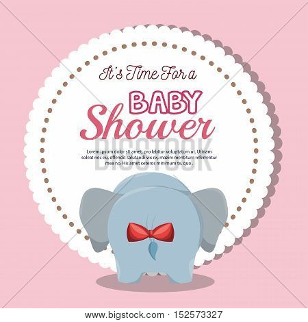 baby shower invitation with cute elephant vector illustration design