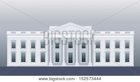 White classic house like the agency or court. Vector graphics