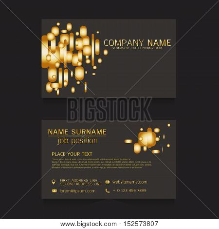 vector business card gold on black background