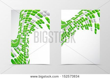 Flyer template wave design. Abstract flyer template with green and gray mottled rounded squares. Geometric flyer design. Vector illustration