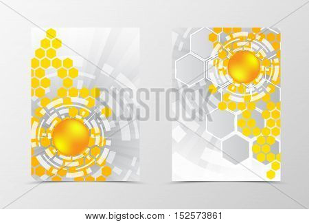 Digital flyer template design. Abstract flyer template with orange and gray hexagons of different size. Geometric flyer design. Vector illustration