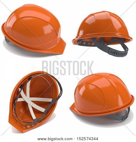 Orange hard hat. 3d. Collage with four helmet
