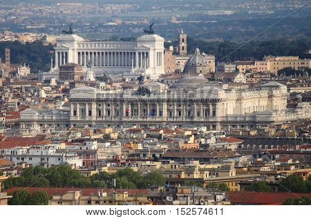 A panoramic view of downtown of Rome, Italy