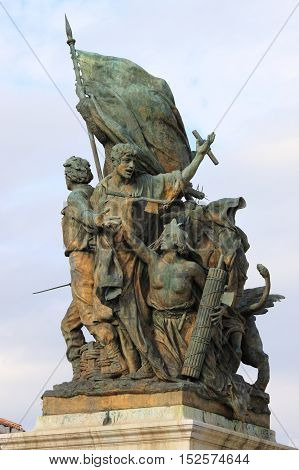 Victory Statue in Venice Square of Rome, Italy