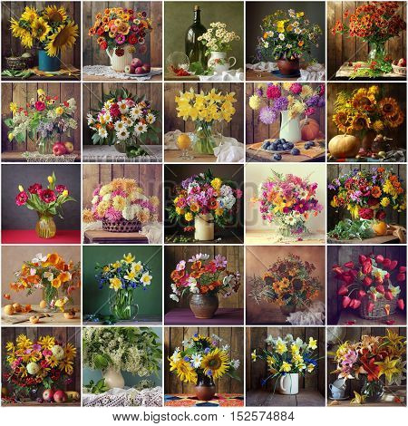 Collage from still lifes with bouquets of cultivated flowers vegetables and fruit.