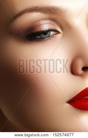 Make-up And Cosmetics. Beauty Woman Face. Beautiful Model Girl M