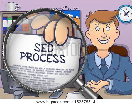 SEO Process. Officeman in Office Workplace Holding a through Lens Concept on Paper. Multicolor Doodle Illustration.