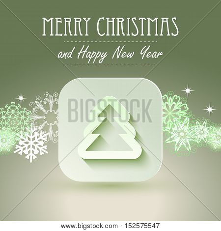 Christmas icon with paper effect. Christmas backgound with snowflakes. EPS10 vector illustration.