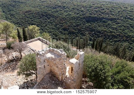ancient fortress Yehiam, Crusader Castle (XIII century.), belonged to the Order of the Teutonic Knights