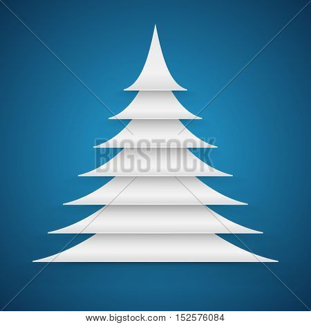 Abstract white paper cut Christmas tree on blue background vector card.