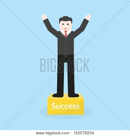 Success Concept By Business Man Stood On The Podium