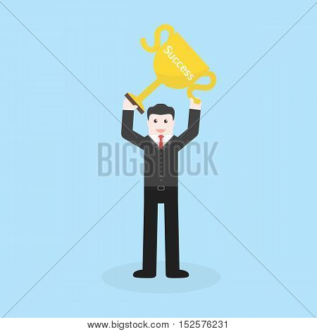 Success Concept By Business Man Holding Trophy