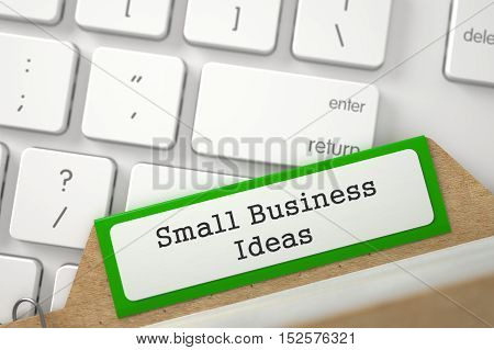 Small Business Ideas Concept. Word on Green Folder Register of Card Index. Close Up View. Selective Focus. 3D Rendering.