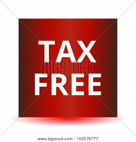 Tax free red web glossy icon. Vector illustration.