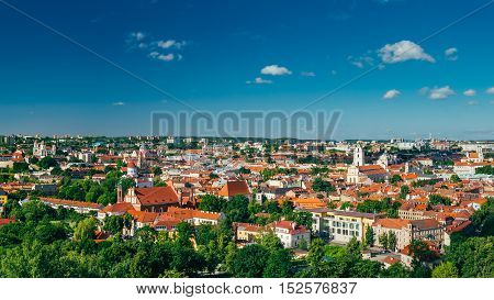 Cityscape Of Vilnius, Lithuania In Summer. Beautiful Panoramic View Of Old Town In Evening. View From The Hill Of Upper Castle