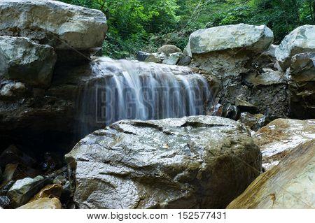 The small waterfall in Svirsky gorge, Lazarevskoye