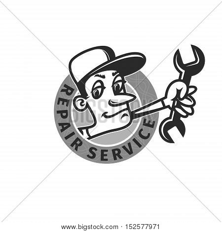 mechanic with a wrench repair shop emblem