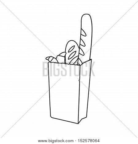 Grocery bag with bread icon in outline style isolated on white background. Bread symbol vector illustration.